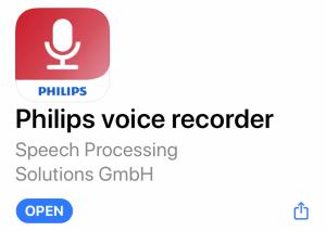 Philips Voice Recorder App on Apple iOS Store