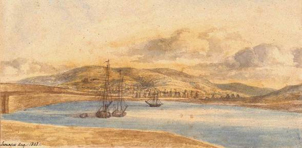 The Harbour at Swansea 1808. The town is in the distance, and the area behind the artist to the right is Port Tennant Docks, used for canal barges. Kilvey Hill to the right, Mayhill and Townhill ahead.