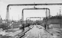 entering the Dock bridge on Quay Parade at swansea from St Thomas about 1914