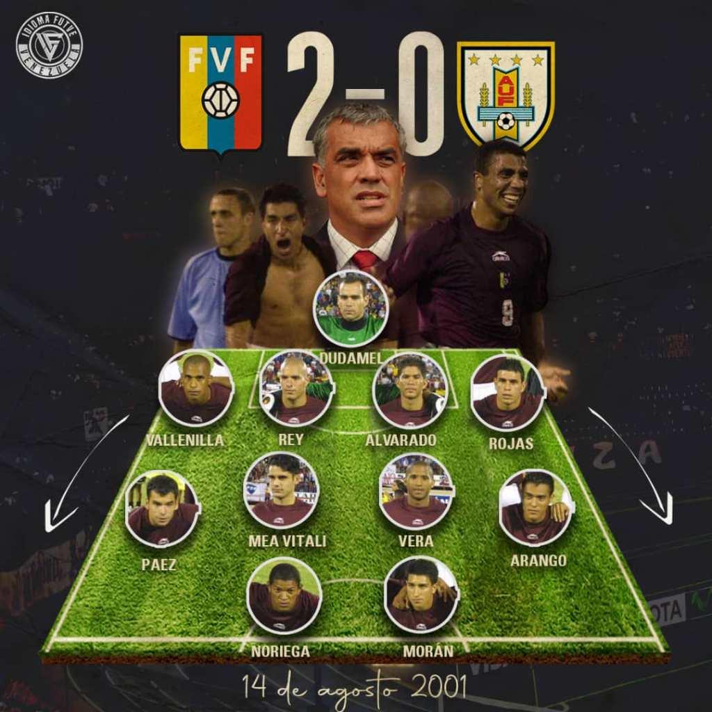 El once de Venezuela ante Uruguay el 14 de agosto de 2001