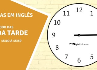 horas em inglês - 3 horas da tarde em inglês