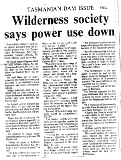 Franklin 1982 - power use down in Tasmania