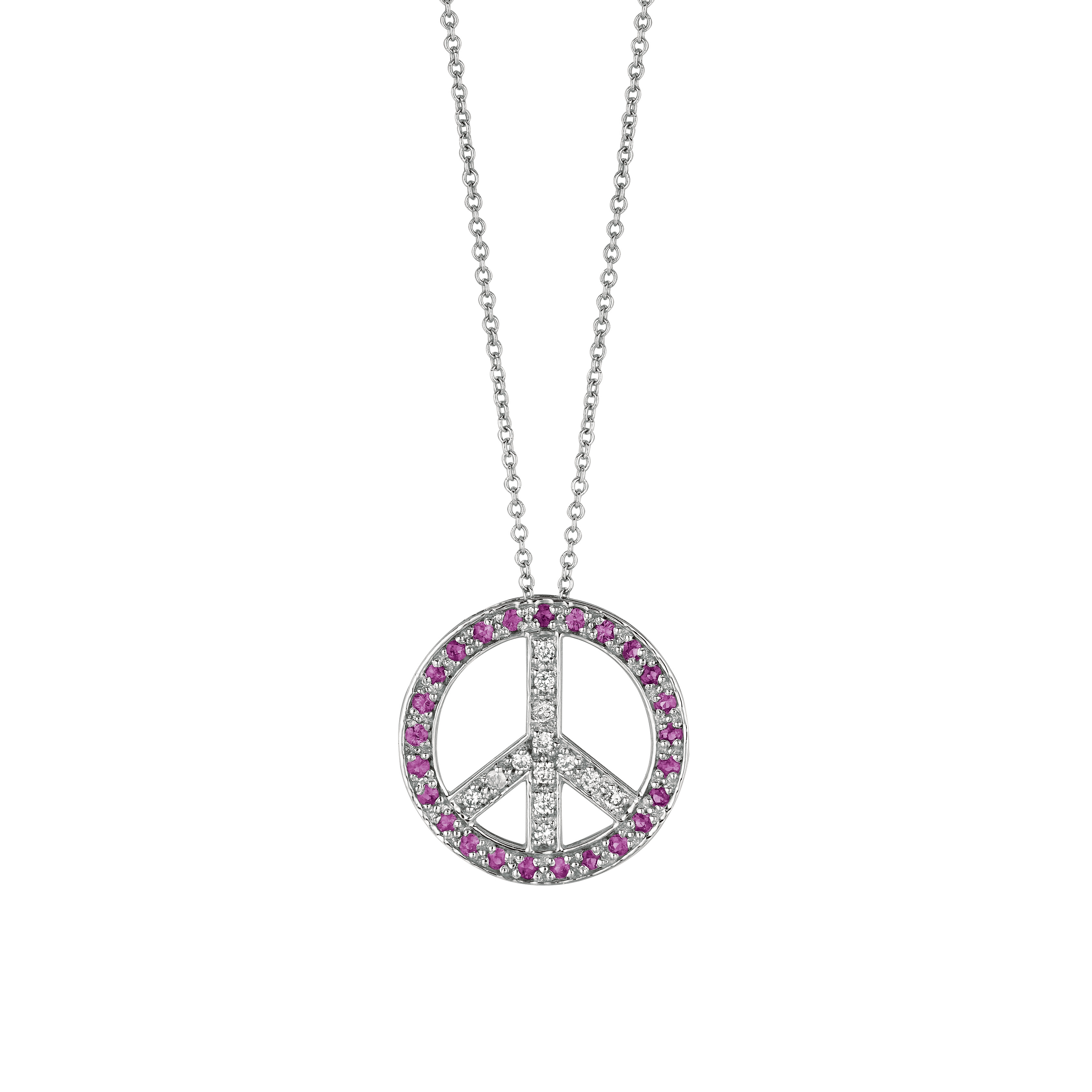 0 51 Ct Pink Sapphire Amp Diamond Peace Sign Pendant Necklace Set In 14k White Gol