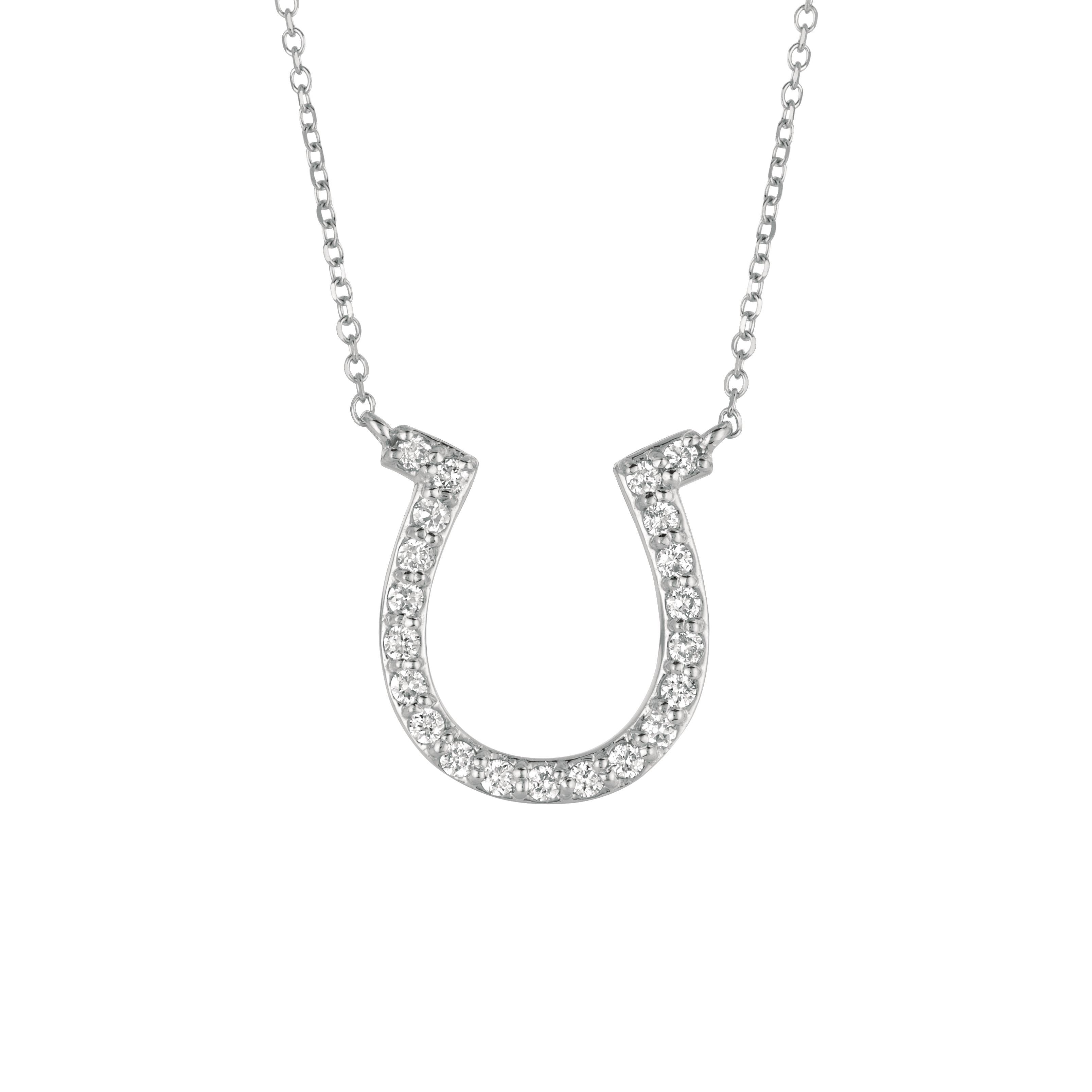 0 25 Ct Diamond Horseshoe Necklace Set In 14k White Gold Idjn 25wd