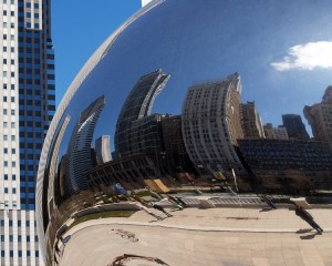 Reflections on the Cloud Gate sculpture in Millennial park in Chicago. Congrats Cubs!
