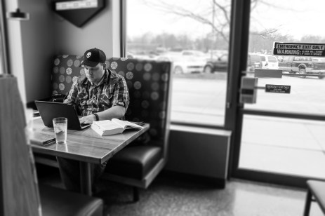 """If he's not at home, you can find him at Hy-Vee Market Grille at the same table, every time. For the U.S. Army veteran, Matthew Haynie is at the next place he feels the most comfortable. He is hyper vigilant of his surroundings at Hy-Vee because of his post-traumatic stress disorder. """"I spent about six months at a couple of hospitals in Germany. Before they let me out, they told me I have PTSD. I guess I noticed it because of my hypervigilance."""" Matthew almost quit Simpson. He felt like he was being targeted because he is a conservative and others confronted him. He stayed at Simpson because the counseling services offered helped him. Matthew adores his three children, but it isn't easy for him to always do fun things with them. When he is in public, an extreme physical toll takes over. He tries his best to take his kids out to fun events because without them, he doesn't believe he would be here. """"My kids are what ground me. I know for a fact that without my kids I would be suicidal, without a doubt. I would not be here without them."""" It's hard to ignore the things Matthew cares about, like when people discriminate against cops and soldiers. He hopes Simpson can improve more than just be inclusive """"to the minorities who scream acceptance"""". Matthew hopes people understand that all people should be treated equally and people with mental disabilities are hypersensitive to what people think of them."""