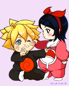 Sarada and boruto cute image