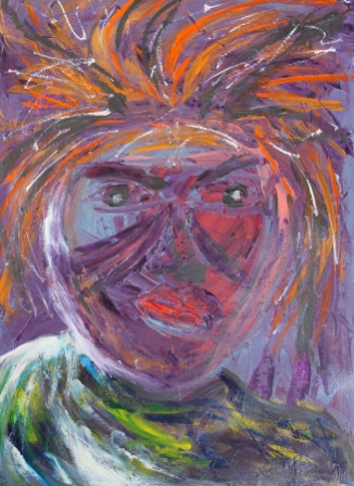 No. 2 Creative Writing & Abstract Painting 'The Face Mask' Acrylic Paint on A3 HW Paper by Karen Robinson Nov 2014 NB All images are subject to copyright laws.JPG