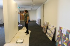No. 11 - 'When words are hard to find' Solo Exhibition of Karen Robinson 6.5.15 Curator Tobias preparing Gee Lee-Wik Doleen Gallery for Exhibition.JPG