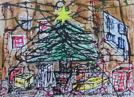 No. 1 of 5 'Merry Christmas it well be...' by Karen Robinson Artwork inspired by Creative Writing Piece - Schmincke Ink on A3 100% Cotton Movlin Paper Dec 2015 NB All images are protected by copyright - Copy.JPG