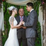 Austin wedding officiant and couple during ceremony at Texas Old Town