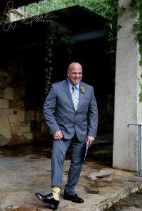 Austin wedding officiant in yellow socks