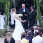 Wedding officiant bride and groom at Chateau on the Creek