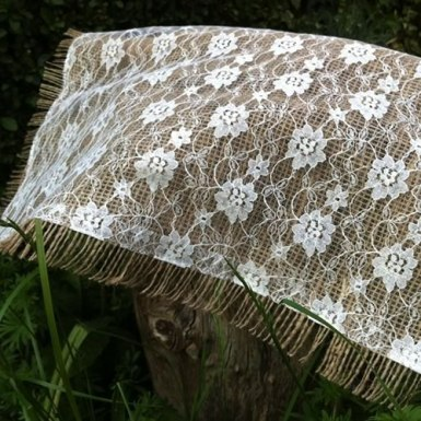 Hessian with lace overlay table runner - £4