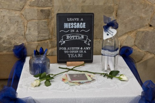 Alternative guestbook idea for wedding to hire leave a message in a bottle