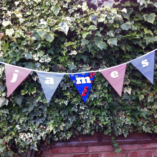 Personalised red & blue kids bunting handmade
