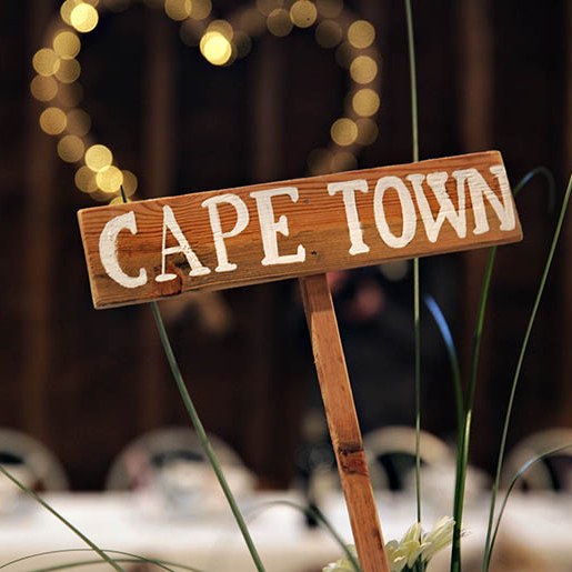Table name signposts handmade of wood