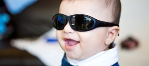 Baby wearing Baby Wrapz 2 sunglasses with temples on