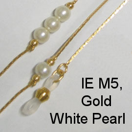 IE M5 - Gold metal chain with white pearls