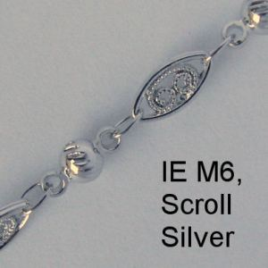 IE M6 - Metal (Scroll) chain, Silver
