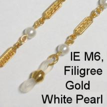 IE M6 - Metal (Filigree) chain, Gold and white pearls
