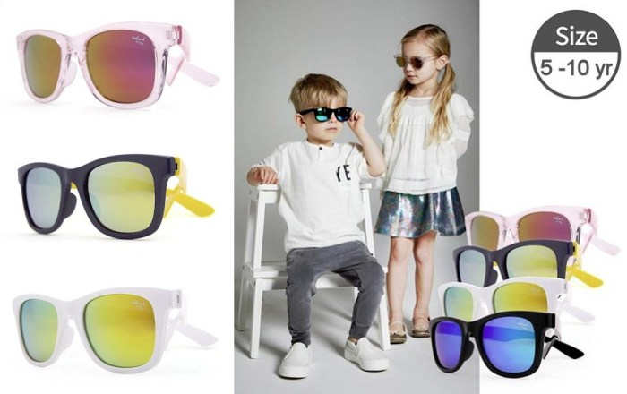 Kids I - IE9011 Crystal pink, navy/yellow, white or black frames with Revo mirror lens