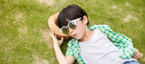 Boy wearing new combination frame
