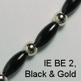 IE BE 2, Black Pearl & Gold Bead spectacle chain