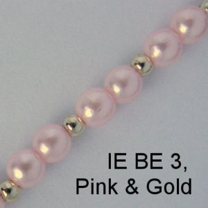 IE BE 3, Pink Pearl & Gold Bead spectacle chain