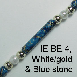 IE BE 4, White Pearl & Gold Bead & Blue Stone spectacle chain