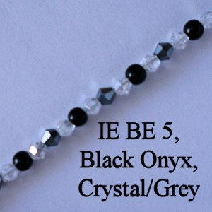 IE BE 5, Black Onyx, Crystal / Grey spectacle chain