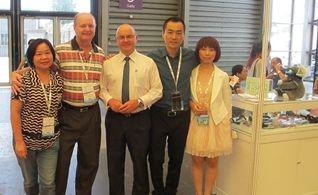 CBME 2013 - Shanghai. L to R: Lily & Peter - Idol Eyes Australia, Michael Clifton – Austrade Senior Trade Commissioner Shanghai, Skye & April - Idol Eyes Australia China distributor.
