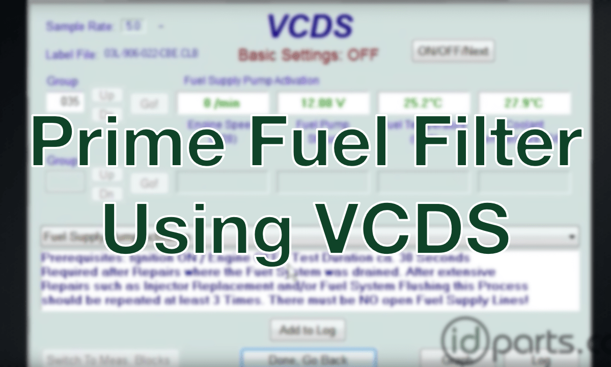 Prime Tdi Fuel Filter With Vcds Diesel News Info And Guides 2001 Passat