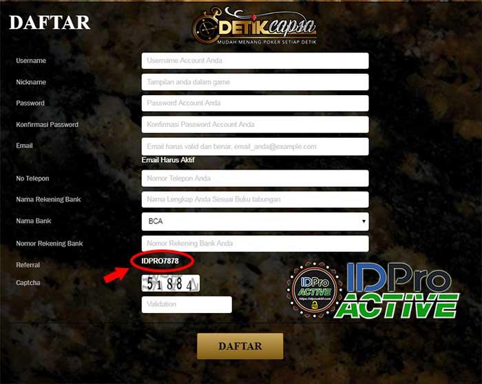 Form Daftar IDPRO7878 - Cara Daftar ID Pro Aktif di Website Terpercaya