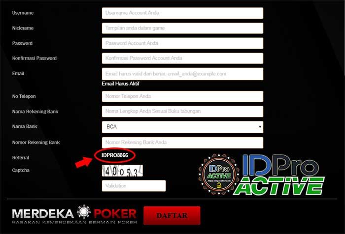 Form Daftar IDPRO8866 - Cara Daftar ID Pro Aktif di Website Terpercaya
