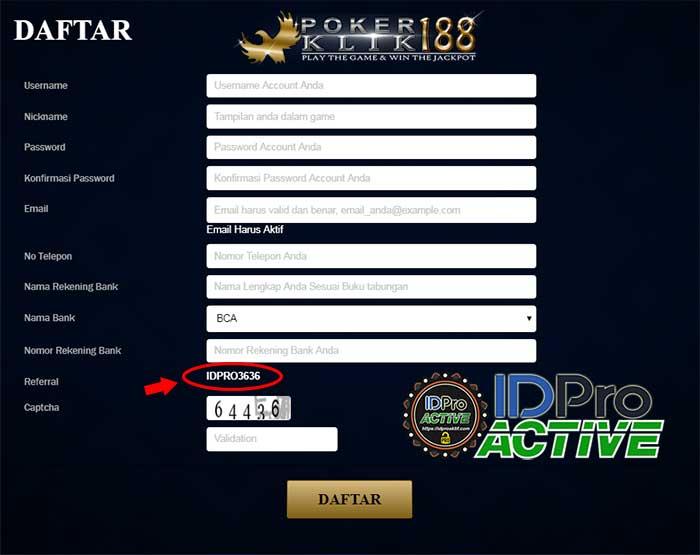 Form daftar IDPRO3636 - Cara Daftar ID Pro Aktif di Website Terpercaya
