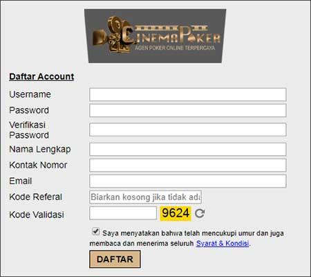 Form Pendaftaran - Daftar BandarQ Online PKV Games Terpercaya