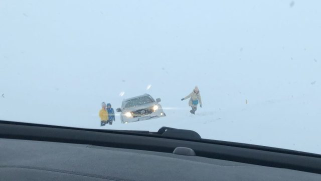 Car off the road in Iceland