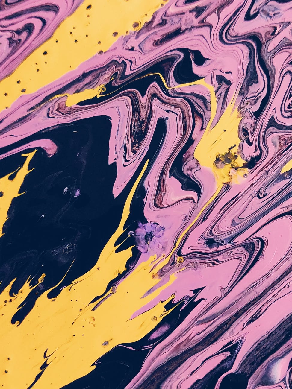 pink black and yellow abstract painting