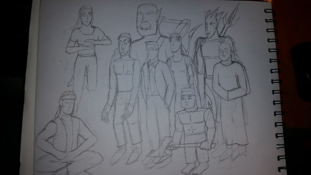 Pencil Drawing of I Draw Bad for Superhero Class - Group Outline