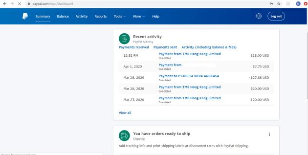 Bukti pembayaran WeSing dalam bentuk dollar di PayPal.