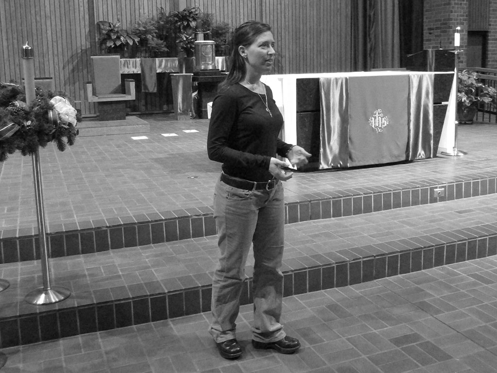Jen Messing speaking Epiphany black and white