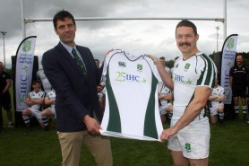 Sponsor & Senior Healthcare Consultant of IHC Alan Browne left presents Dorset & Wilts captain David McDonald with a new set of shirts before the match kicks off @ Royal Wootton Bassett rugby club. https://idrismartin.wordpress.com/