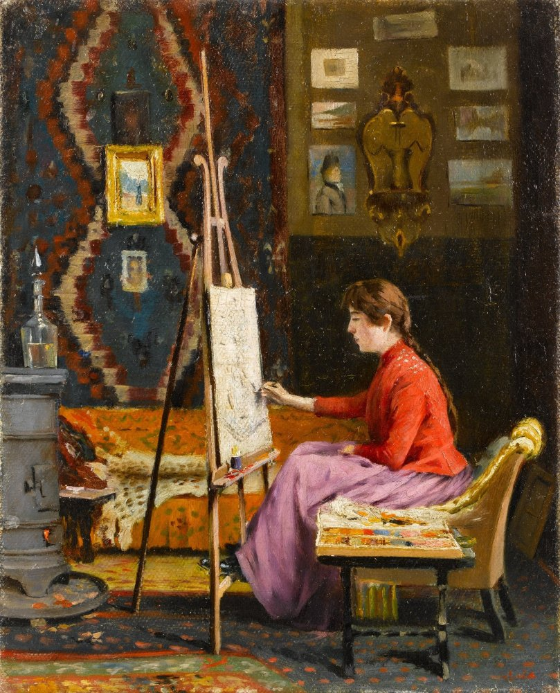 """""""Girl Painter and Her Studio,"""" Halil Pasha, oil on canvas, 41 by 33 centimeters. (Courtesy of SSM)"""