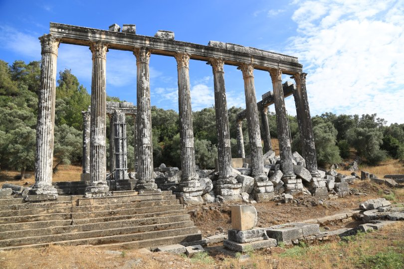 A view from the Temple of Zeus Lepsynos in the ancient city of Euromos, Muğla, southwestern Turkey, June 18, 2021. (AA Photo)