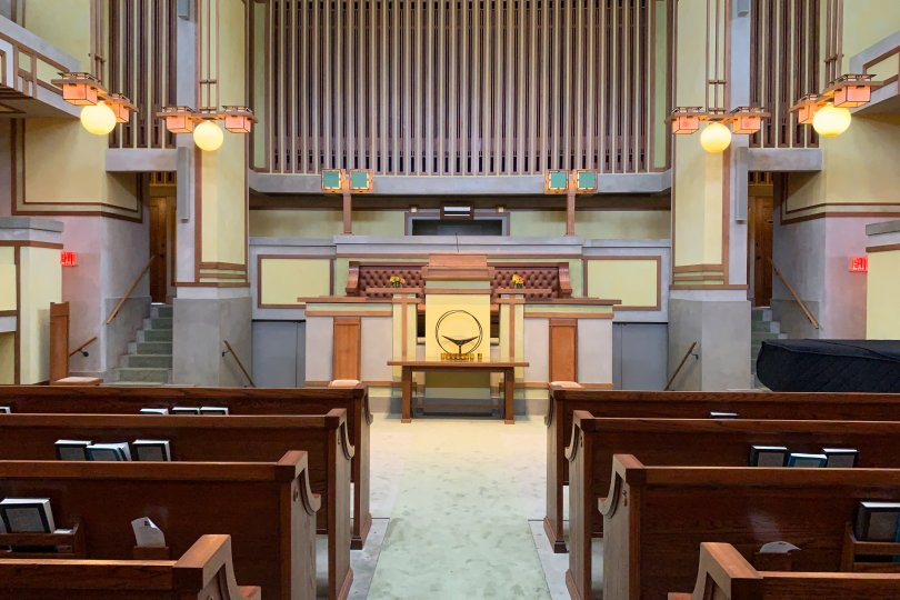 The lights in the sanctuary of Unity Temple makes it feel like the sun is shining outside – even in bad weather. (DPA Photo)