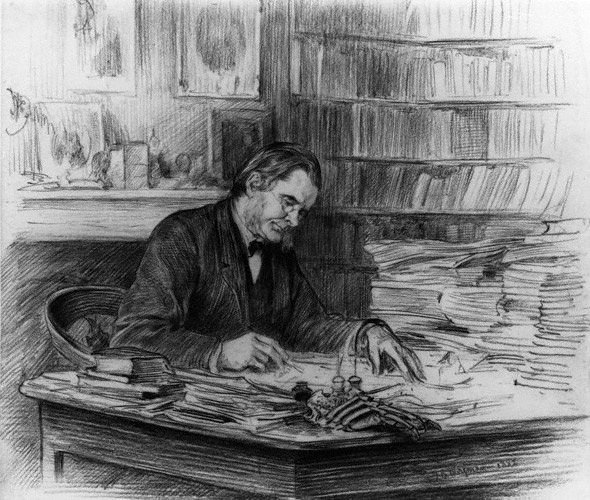 A 1882 drawing of Thomas Henry Huxley by British painter and etcher Theodore Blake Wirgman.