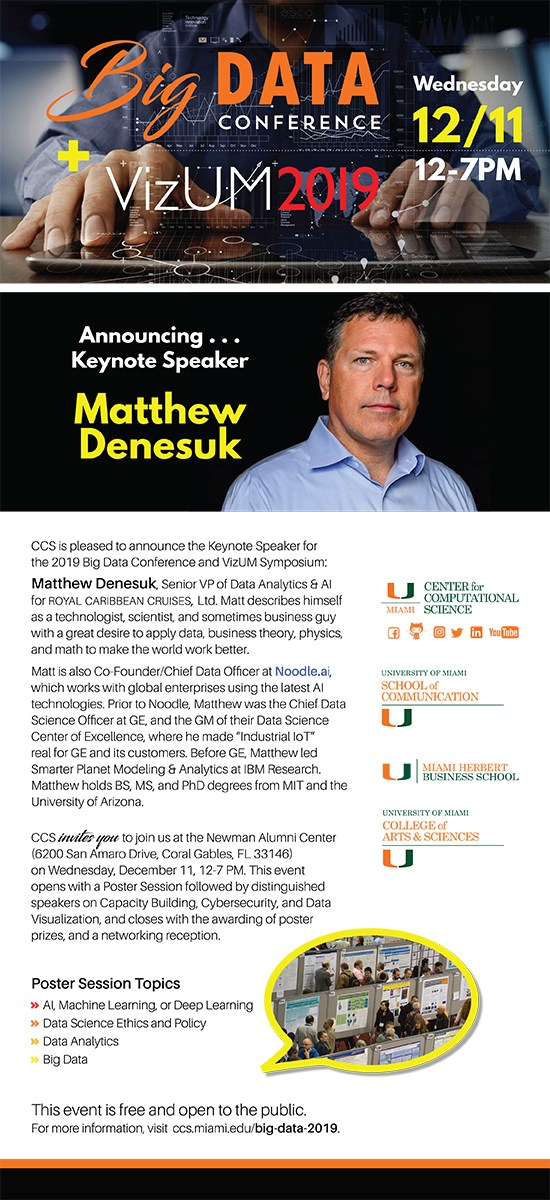 University of Miami Big Data Conference and VizUM Symposium FLYER December 2019