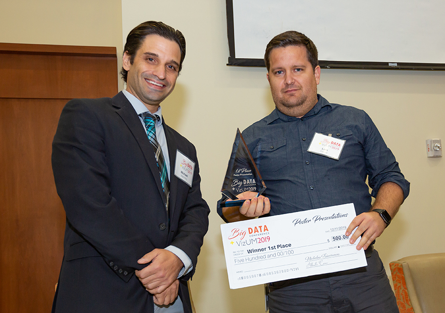 University of Miami Institute for Data Science and Computing Big Data Conference and VizUM Symposium 2019 poster winner Joseph Gross with Michael Mannino