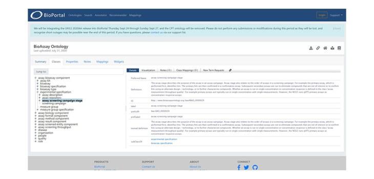 Screenshot of OntoloBridge in the BioPortal